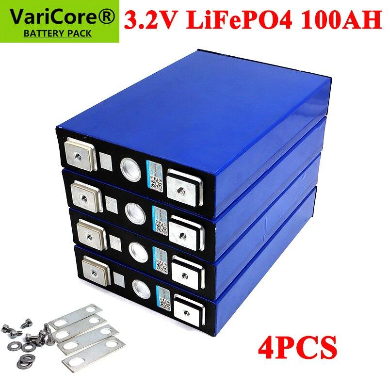 4pcs 3.2V 100Ah LiFePO4 battery pack Lithium iron phospha DIY 12V 24V 300A 3C Motorcycle Electric Car Solar Inverter batteries
